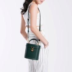 Green Leather Crossbody Bag Bucket Bag Small Tote