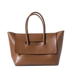Brown leather lady tote bag