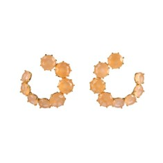 Snail shape honey diamantine earrings