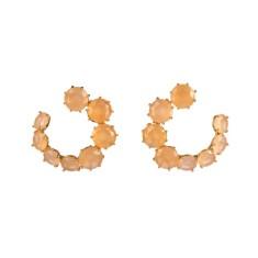 Snail shape honey diamantine earrings