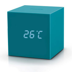 Gravity Cube Click LED Alarm Clock in Teal or Grey