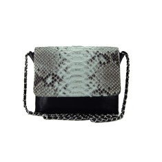 Natural python and black lambskin leather crossbody sling bag