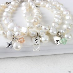 Personalised Bridesmaid Pearl Silver Charm Bracelet