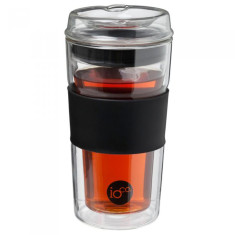Hand-blown Tea & coffee traveller cup in Hardened Glass