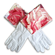 Protective Cuff leather gardening gloves in Monaco Pinky