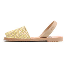 Isabel leather & fabric sandals in lemon