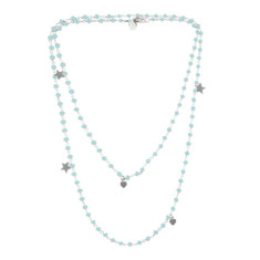 Aqua beach rosary chain necklace
