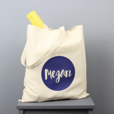 Personalised circle name tote bag