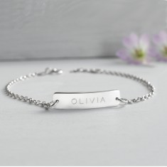 Personalised Sterling Silver Little Name Bar Bracelet
