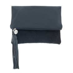 Tash Black Cowhide + Black Leather Clutch