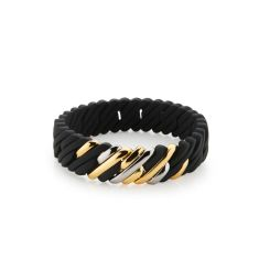 Mini woven pixel bracelet in black and metal mix