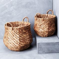 Waterhyacinth octagonal belly basket with handles