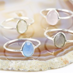 Sterling Silver Semi-Precious Gem Ring