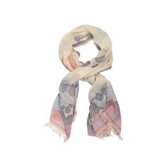 Dream cream/grey/pink cotton scarf