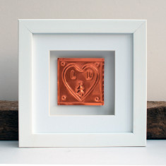 Framed Christmas Couple Copper Heart Gift