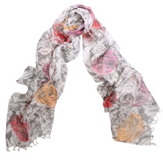 Fleur hand painted cotton/silk scarf