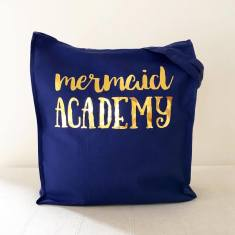 Mermaid academy gold foil tote bag