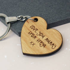 Child's Handwriting Heart Keyring