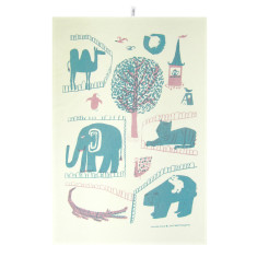 Zoo tea towel in pink & teal