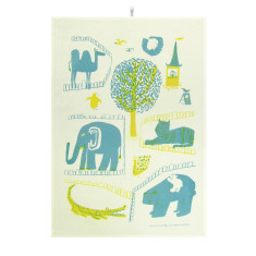 Zoo tea towel in yellow & teal