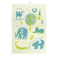 Zoo tea towel in yellow & teal