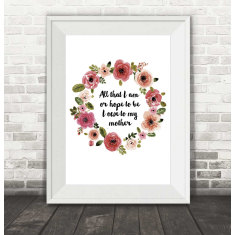 Mother's Day Floral Wreath Print