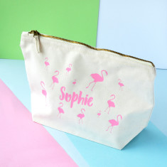 Personalised Large Flamingo Makeup Bag