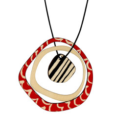 Retro red wave with black stripe necklace