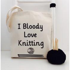 I bloody love knitting tote bag