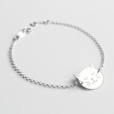 Personalised Sterling Silver Frida Cat Face Bracelet