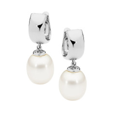 White drop pearl 9ct white gold earrings