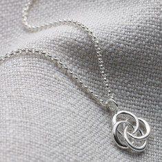 Ladies Small Sterling Silver Love Knot Necklace