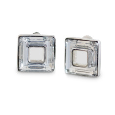 Atrium Swarovski Hollow Square Stud Earrings