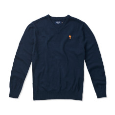 Boys V-neck Jumper in Navy with Vintage Orange Palm tree