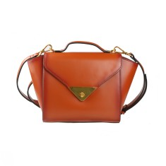 Brown leather shoulder bag with handle