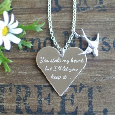 Personalised sterling silver heart and charm necklace