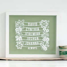 Framed Personalised Family Tree Papercut