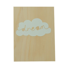 Dream cloud plywood screenprint