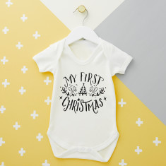 Typography First Christmas Babysuit