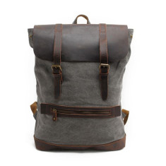 Grey Canvas laptop bag backpack bag