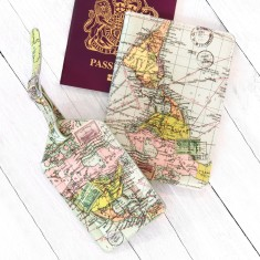 World Map Passport Cover & Luggage Tag Set