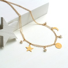 Personalised Gold and Freshwater Pearl Celestial Necklace
