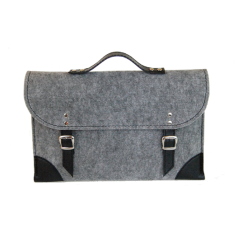 Grey felt laptop case with black leather trim