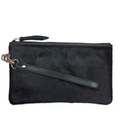 Black hide leather clutch bag