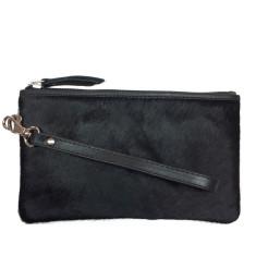 Black hide leather clutch bag