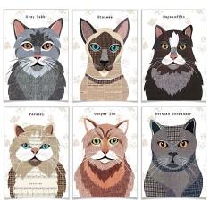 Cat Greetings card (Set of 6) 9 designs avaialble