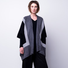 Oversize colour block poncho cardigan