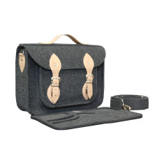 Dark grey felt laptop bag with genuine leather detail