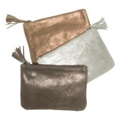 Leather tassel pouch (silver, gunmetal , bronze)
