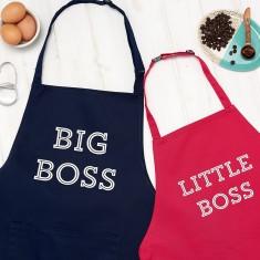 Personalised Big Boss And Little Boss Apron Set